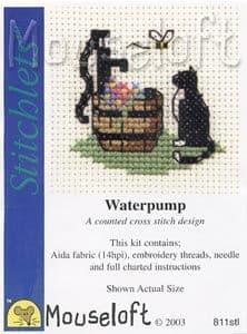 Mouseloft Cat at Waterpump Stitchlets cross stitch kit
